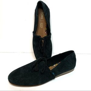 TOMS Black Suede Tie Loafers